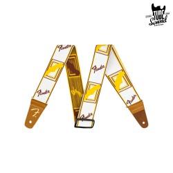 "Fender 2"" Weighless Monogram Strap White Brown Yellow"