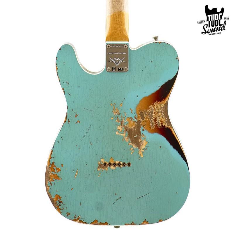 Fender Custom Shop Telecaster Custom 60 RW Ltd. Ed. Heavy Relic Surf Green Over 3 Color Sunburst