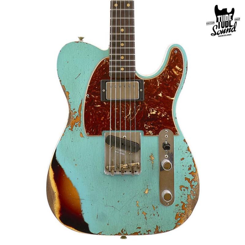 Fender Custom Shop Ltd. Ed. Telecaster Custom 60 RW Heavy Relic Surf Green Over 3 Color Sunburst