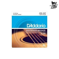 D'Addario EJ38 Phosphor Bronze Acoustic 12 String Light 10-47