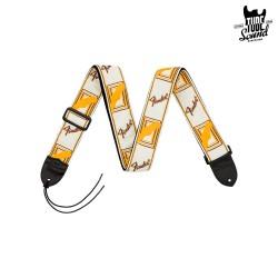 "Fender 2"" Monogrammed Strap White Brown Yellow"