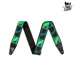 Fender Neon Monogrammed Strap Green Blue